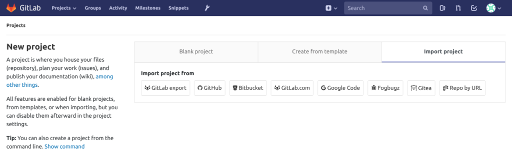GitLab - Create Project & Import
